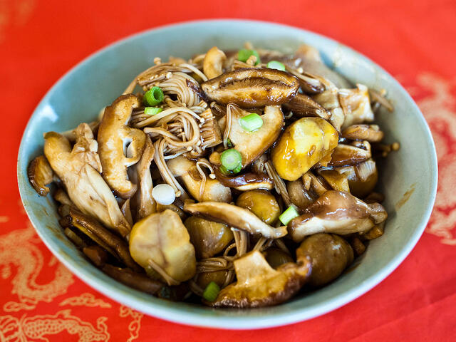 Soy-Braised Fall Mushrooms With Chestnuts