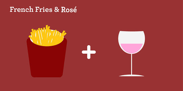 french fries and rosé